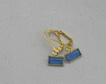 Sapphire Gold Vintage Glass Dangle Earrings,  Estate Inspired  Leverbacks
