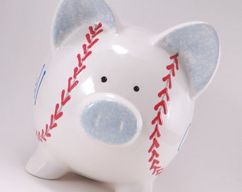 Baseball Piggy Bank - Personalized Piggy Bank - Baseball Bank - Ceramic Sports Bank - Softball Piggy Bank -- with hole or NO hole in bottom
