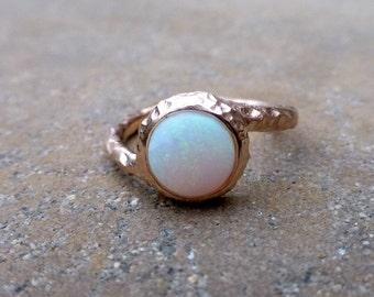 Opal engagement ring.  Australian Opal ring. 14k rose gold opal ring. Hammered opal ring. Opal promise ring.