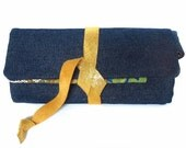 fabric watch roll - denim with gold leather accent