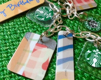 FREE SHIPPING - upcycled happy birthday Starbucks charm bracelet