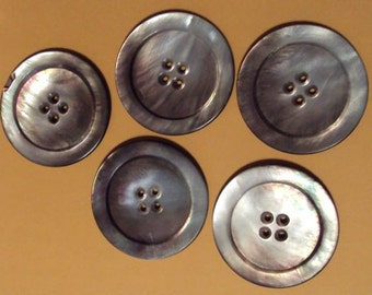 5 Mother of Pearl Shell Buttons 4 hole Victorian for hand knit sweaters coats