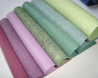 Wool blend Felt by the sheet  6 x 9  sheets The green and purple set  7 sheets