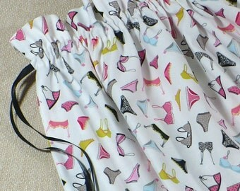 Travel Laundry Bag, Lingerie, bras, undies, drawstring bag, reusable, cotton, Pink, White, Black