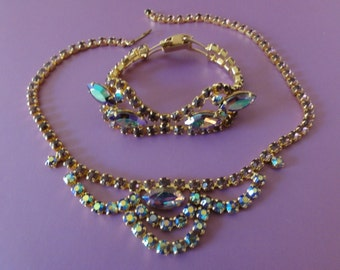 Necklace and Bracelet Set-Dazzling Vintage Gold Tone Aurora Borealis-Rhinestone-Bridal-Wedding