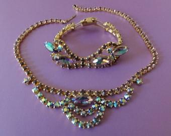 Necklace and Bracelet Set-Aurora Borealis Dazzling Vintage Gold Tone Bridal-Wedding