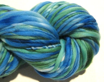 Handspun Yarn Appalachia 100 yards hand dyed merino wool green yarn blue yarn waldorf doll hair knitting supplies crochet supplies