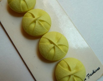 Vintage Yellow Buttons, BGE, Sewing Supplies, Clothing Buttons, Plastic Tufted Buttons, Four Buttons, Original Card, Collectibles, Unique