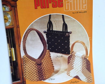 Vintage Macrame, Purse Time, Vintage 1978, Liz Miller, Vintage Booklet, Sewing Instructions, Pictures, Cord Craft, Accessories,Unique Purses