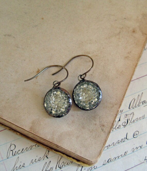 Glass Button Earrings Sparkle Jewelry