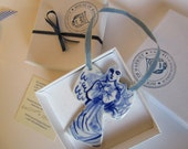 Dutch Delft Blue  Angel  Ornament - Hand painted blue and white Delftware porcelain - Delftblue -Holland Original - Handpainted