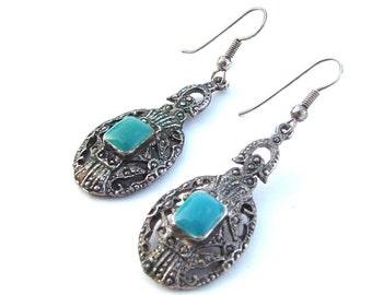 Turquoise Dangle Earrings, Art Deco Jewelry, Art Deco Earrings,  Dangle Pierced Earrings Silver Tone Turquoise Enamel Jewelry