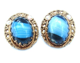 Vintage Sapphire Blue Cat Eye Glass Glass Filigree Rhinestone Earrings Antique Jewelry Gifts