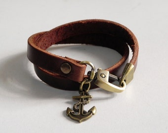 Leather Bracelet Leather Charm Bracelet Leather Wrap Bracelet Leather Cuff Brown Color with Metal Bronze Tone Anchore Charm