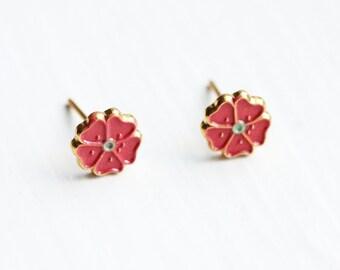 Tiny Pink Flower Studs