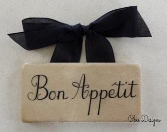 Bon Appetit Vintage Style Marble Subway Tile Sign with Black Linen Like Bow Ribbon Hanger