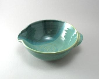 Batter Bowl-Stoneware-Green-Teal-Pearl Green Glaze-Peacock Blue Green Glaze