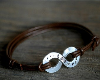 Personalized XL Infinity Bracelet - Large Infinity and leather with personalised stamping on aluminium - leather anniversary gift