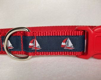 Summer Sailboat Dog Collar, In M, L, XL Side Release Buckle Style