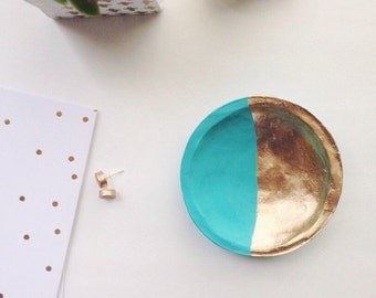 Turquoise and Gold Jewelry Dish/Turquoise and Gold Ring Dish