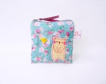 Coin purse, Change purse, Cat purse, Gift for cat lover, Children's Purse, Little Gadget Case, Zipper Pouch, Mini Wallet - Cat