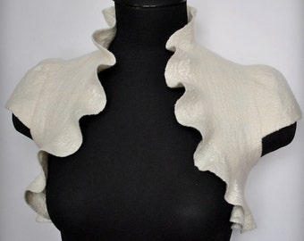 Bolero Wedding, Shrug, Jacket, Ivory, Felted Couture, Cap Sleeves, TianaCHE