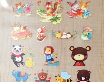 Offset Printing Iron On Transfer - Happy Girl Forest Animal Bear Zebra Elephant Lion Panda Bunny Squirrel Floral Tweeting Birds (1 Sheet)