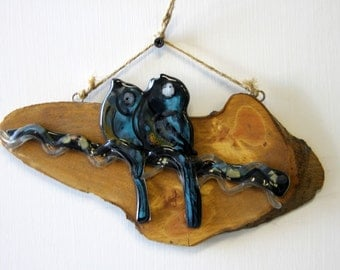 Fused glass love birds hanging wall art.
