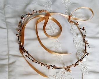 Gold Flower Crown, Grecian Tiara Stefana, Bridal Head Piece Flower Girl  halo, Wedding accessories pip berry Renaissance headwreath