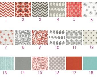 MODERN Coral, Aqua and Gray Baby Bedding - Custom Modern Crib Bedding - Chevron, Ikat, Elephants, Grey