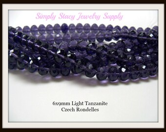 6x9mm Light Tanzanite Gemstone Fire Polished Czech Crystal Rondelles- 25 pieces