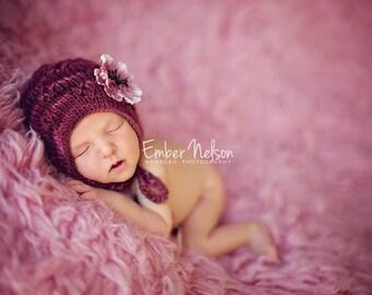 Knitting PATTERN - Diamondwork Bonnet, newborn size, baby photography prop, baby shower gift, PDF instant download