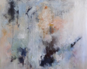 "Original Abstract Painting Neutral Textured White Grey LARGE XXL 47x59"" UNSTRETCHED Rolled in a tube"