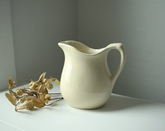 Cream Serving Pitcher . Antique Pitcher . Vintage Ivory Flower Vase