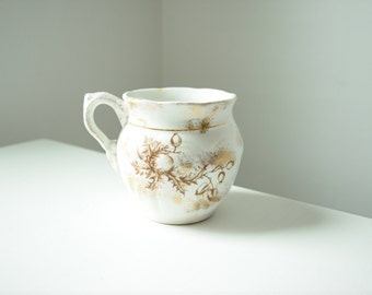 Antique White and Gold Handled Pot . 1890's . Home Decor . Transfer Ware Vase
