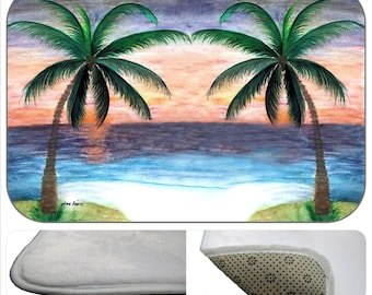 Sunset Palms bathmat from my art