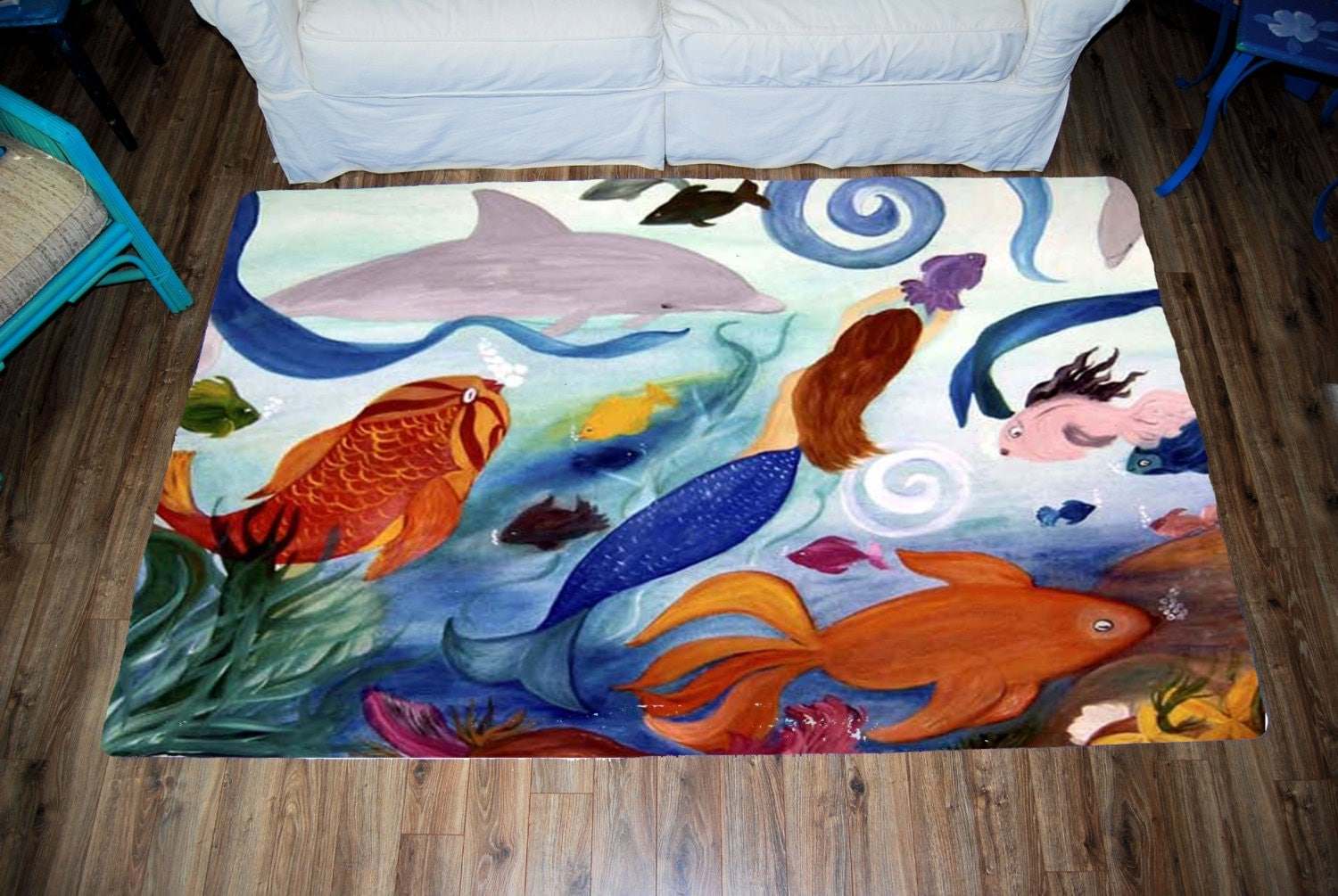 Tropical Fish And Mermaid Large Plush Area Rug From My Art