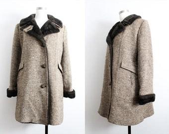 1950s Brown Faux Fur Tweed Winter Coat