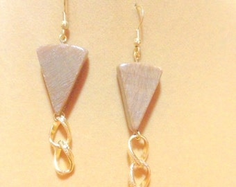 SALE    Brown Gemstone Earrings with Gold Chain Link Dangles / Gemstone Earrings / Gold Chain Earrings / Dangle Earrings