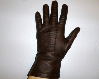 Vintage 50's - Chocolate Brown - Soft Leather - Party - Church - Derby - Formal - Mod - Gloves - Marked size 7
