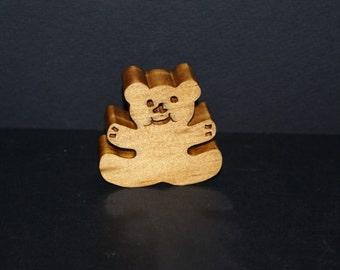 Miniature Teddy Bear Wood Shelf Sitter