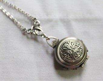 Silver Celtic Knot - Antique Silver Plated FOLDING Locket Celtic Knot Necklace