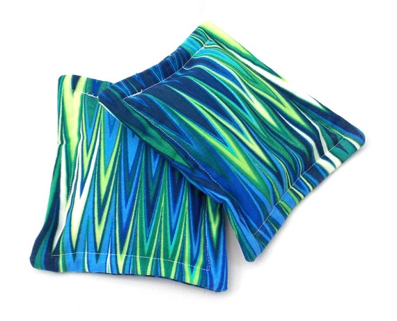 heat therapy rice bags set of 2 blue green by