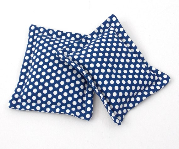 heat therapy rice bags set of 2 navy polka by