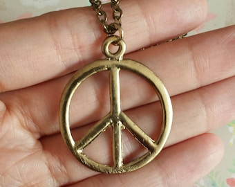 Peace Sign Necklace. Silver or Antique Brass Tone. Best friends, daughter, teenager, tween gift idea.