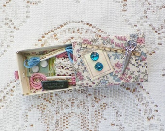 Handmade Mixed Media / Altered Matchbox Sewing / Stitching / Quilting Box / Kit, Vintage Lace, Vintage Buttons, Flowers, Gift / Magnet
