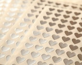 108 Silver Heart Stickers - FREE SHIPPING with other purchase