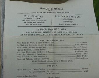 Program from 1924 Senior Class play - Scio, NY - Allegany County, NY