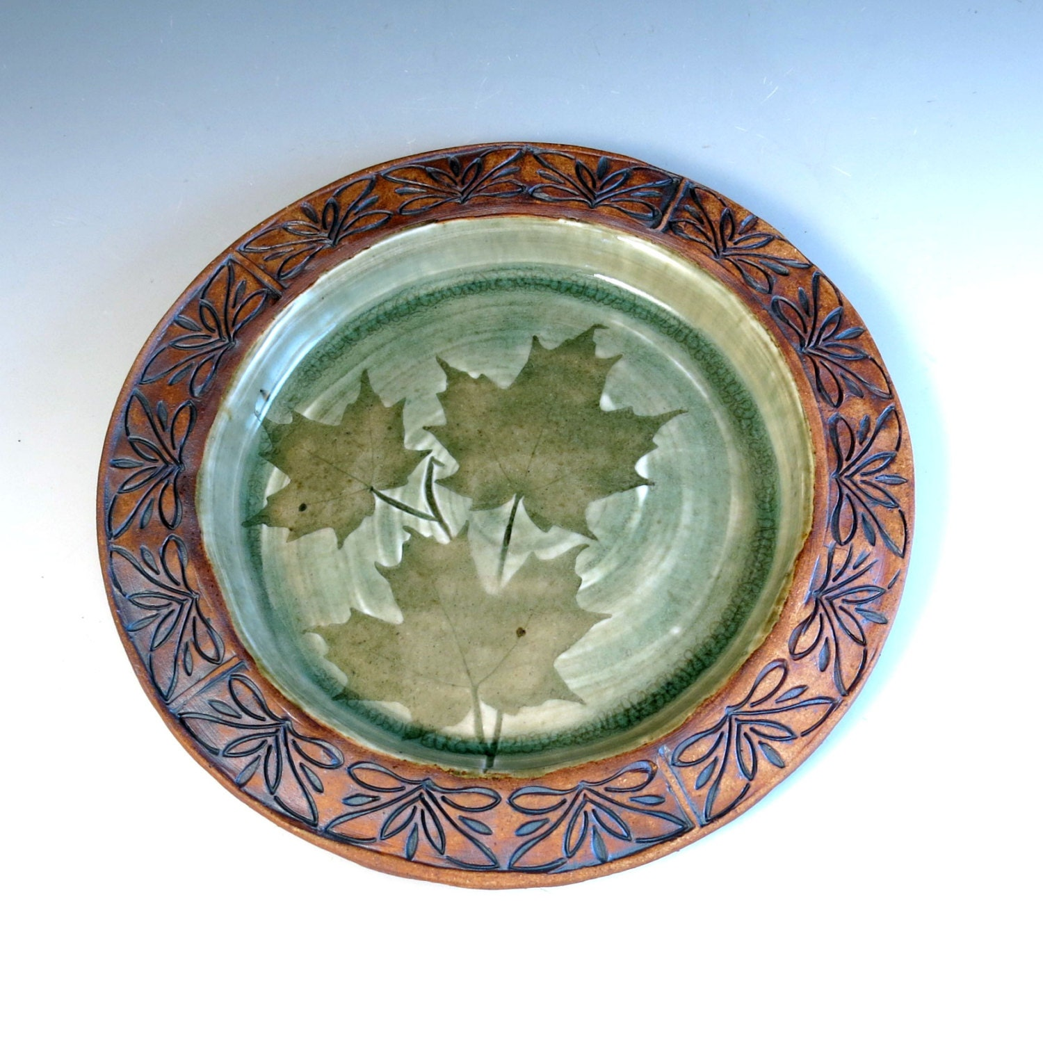 Ceramic Plate Nature Leaf Handmade Pottery Plate Maple