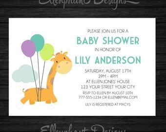 Giraffe Baby Shower Invitation, balloons, cute, baby sprinkle, baby shower, giraffe invitation, custom invite, digital file, you print